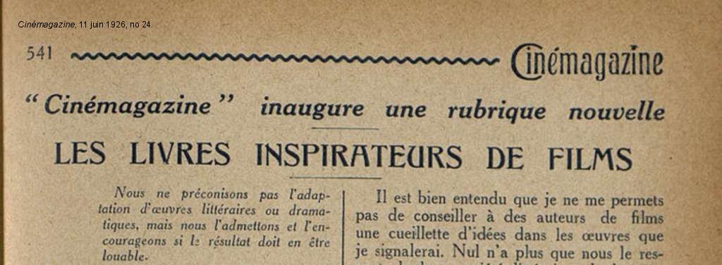 Littérature et cinéma : la rubrique « Les livres inspirateurs de films »