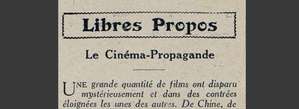 « Le cinéma-propagande » (Cinémagazine, 29 janvier 1926)